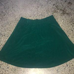 Green skater skirt with zipper on back